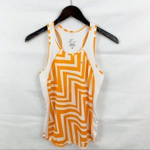 Nike Orange & White Chevron Print Dri Fit Tank Top